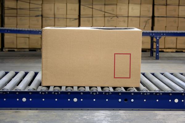 Box On A Conveyor Roller