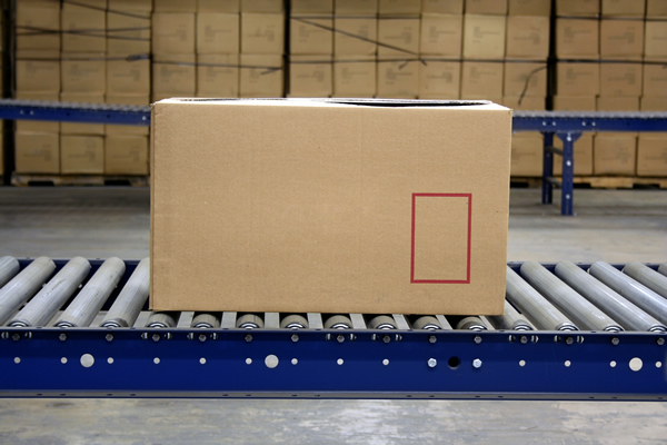 Box On A Conveyor Roller